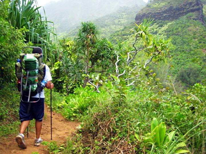 hiking the Kalalau Trail of the Na Pali coast on Kauai, Hawaii