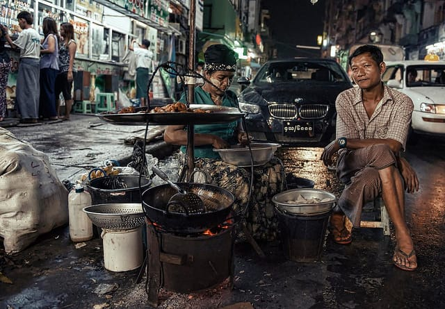street vendors selling food in Yangon, Burma (Myanmar)