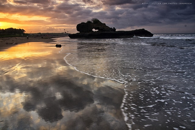 Yeh Gangga Beach sunset in Bali, Indonesia
