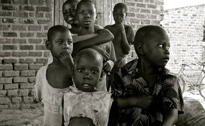African children in black and white