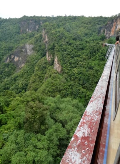 Looking down from the Gokteik Viaduct in Shan State, Myanmar