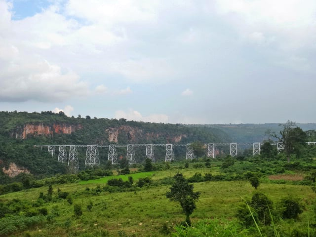 View of Gokteik Viaduct in the distance in Shan State, Myanmar
