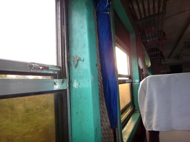 Inside of the train on the line from Pyin Oo Lwin to Hsipaw via the Gokteik Viaduct
