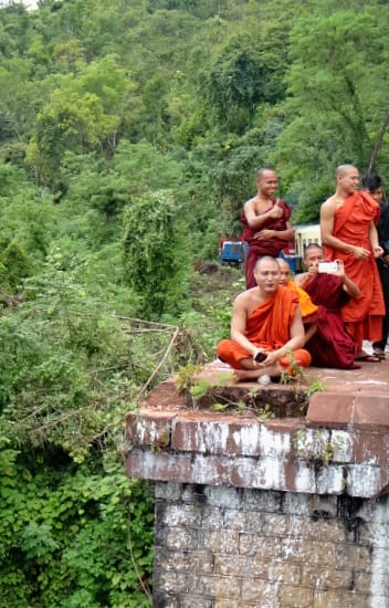 Monks at the Gokteik Viaduct in Shan State, Myanmar