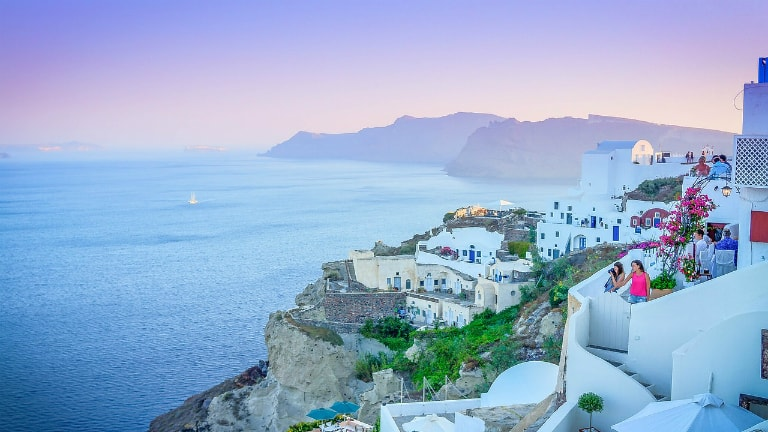 beautiful Santorini with purple sky