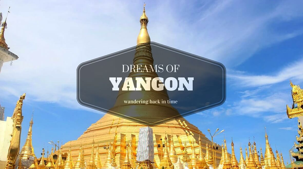 blue sky above the golden Shwedagon Pagoda in Yangon (Rangoon), Myanmar (Burma)