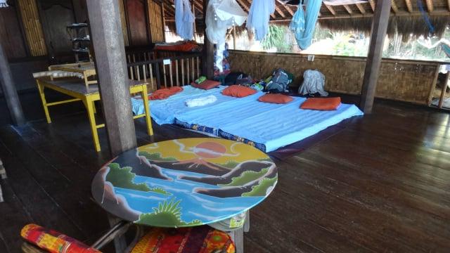 sleeping on the floor of Topi Inn - Padang Bai, Bali, Indonesia