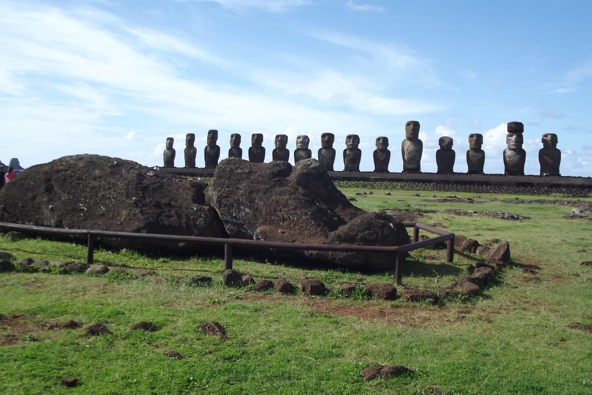 Easter Island moai - monolithic stone statue faces of Rapa Nui